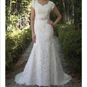 Custom made Modest Wedding Dress lace beaded belt